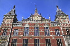 Facade of Amsterdam Centraal. The largest railway station of Amsterdam, Netherlands Stock Image