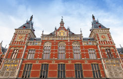Facade of Amsterdam Centraal old building. Central railroad station of the City Royalty Free Stock Photography