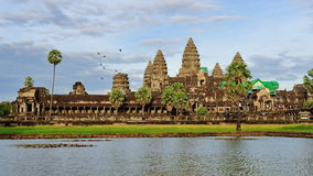 Facade of ancient Angkor Wat Temple in Cambodia Stock Photo