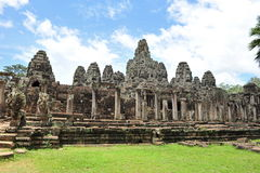 Facade of ancient Bayon Temple in Cambodia Royalty Free Stock Photos