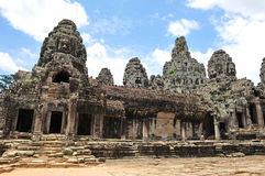 Facade of ancient Bayon Temple in Cambodia Stock Images