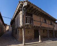 Facade of an ancient building in Calatanazor. Soria stock images