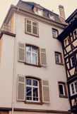Facade  ancient building with large Windows of the European city Royalty Free Stock Photos