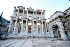 Facade of ancient Celsius Library in Ephesus Royalty Free Stock Image