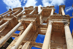 Facade of ancient Celsius Library Royalty Free Stock Photos