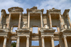 Facade of Ancient Celsius Library in Ephesus Turkey Stock Photography