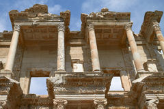 Facade of Ancient Celsius Library in Ephesus Turkey Stock Images