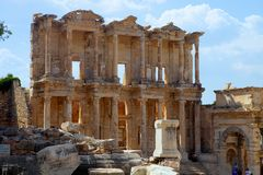 Facade of ancient Celsius Library in Ephesus, Turkey Stock Photography