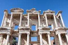 Facade of ancient Celsus Library in Ephesus, Turkey Royalty Free Stock Photos
