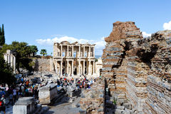 Facade of ancient Celsus Library in Ephesus, Turkey Stock Image