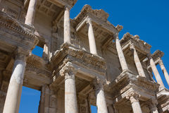 Facade of ancient Celsus Library in Turkey Royalty Free Stock Photos