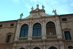 Facade of ancient church called San Vincenzo in Vicenza City  Royalty Free Stock Photo