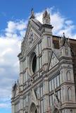 Facade of ancient Church called Santa Croce in Florence Stock Photos