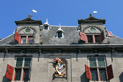Facade of the ancient city weigh house in Hoorn. Netherlands, province North-Holland, city, small town Hoorn: on the square, street, plaza de Roode Steen, there Royalty Free Stock Photography