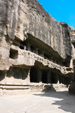 Facade of ancient Ellora Buddhist temple royalty free stock photography