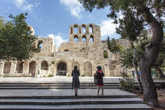 The facade of the ancient Greek theater Odeon of Herodes Atticus in Athens, Greece Stock Images