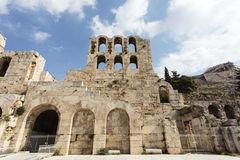 The facade of the ancient Greek theater Odeon of Herodes Atticus in Athens, Greece Royalty Free Stock Images