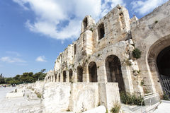 The facade of the ancient Greek theater Odeon of Herodes Atticus in Athens, Greece Royalty Free Stock Photos
