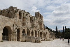 The facade of the ancient Greek theater Odeon of Herodes Atticus in Athens, Greece Stock Photography