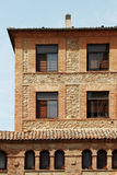 Facade of an ancient house, segovia, spain. A detail of the facade of an ancient house in segovia, spain, portrait cut royalty free stock image