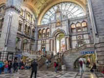 Free Facade And Old Clock In Antwerp Train Station Royalty Free Stock Photos - 69284388
