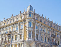 Facade of antique building in Odessa. View of decorated facade antique building in the center of Odessa Stock Photography