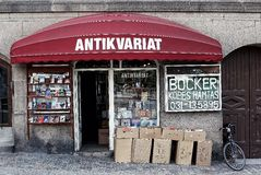 The facade of antique store in Sweden Royalty Free Stock Images