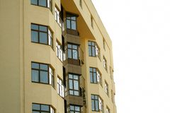 Facade of apartment building against the sky royalty free stock images