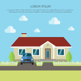 Facade apartment house, cottage. flat style background of trees, old style car Royalty Free Stock Photo