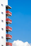 Facade apartments against blue sky Royalty Free Stock Images