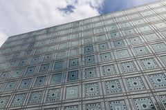 Facade of Arab World Institute (Institut du Monde Arabe) in Paris Stock Photo