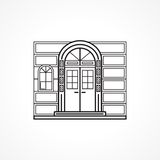 Facade arch door black line icon Stock Photo