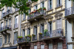 Facade architecture on the street of Strasbourg Royalty Free Stock Image