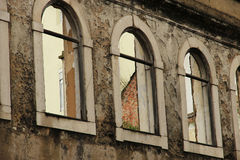 Facade with arcs. Classic windows wall historical old Royalty Free Stock Photo
