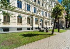 Facade of Art Nouveau building. In the centre of Riga, the capital of Latvia Stock Photos
