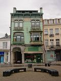 Facade of an art nouveau house in Spa royalty free stock images