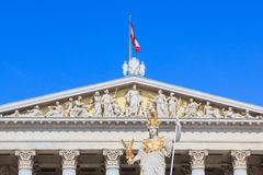 Facade of the Austrian Parliament with Pallas Athene Stock Photo
