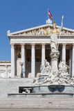 Facade of the Austrian Parliament with Pallas Athene Stock Images