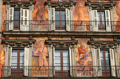 Facade Auto De Fe Square. Facade of beautiful building on Plaza Mayor in Madrid in spain Stock Photos