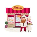 Illustration of bakers. stock illustration