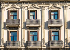 Facade with balconies in Barcelona Stock Image
