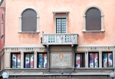 Facade with balconies and colored panels of a building in the center of Padua Royalty Free Stock Photography