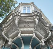 Facade of the balcony of a historic building royalty free stock photo