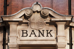 Facade with Bank inscription Royalty Free Stock Photography