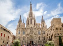 Facade of Barcelona gothic cathedral, in Spain Royalty Free Stock Image