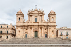 The facade of the baroque cathedral in Noto (Sicily) Royalty Free Stock Photography