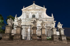 Facade of baroque Church in Krakow Royalty Free Stock Photos