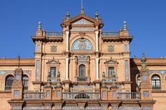 Facade of a baroque palace in Plaza de Espana Royalty Free Stock Images