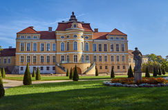 The facade of the baroque palace in Rogalin Royalty Free Stock Photo