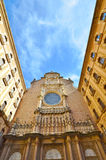 The facade of the Basilica in the Benedictine Abbey of Montserra Royalty Free Stock Photos